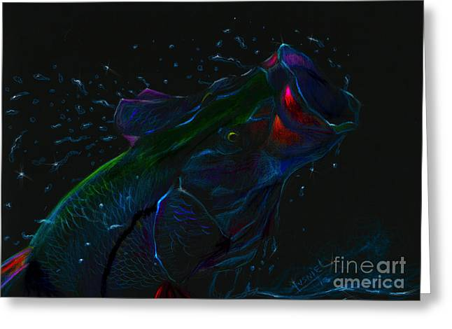 Flyfishing Pastels Greeting Cards - Moonlight Mouth  Greeting Card by Yusniel Santos