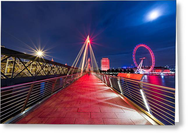 Londoneye Greeting Cards - Moonlight Greeting Card by Naf Selmani