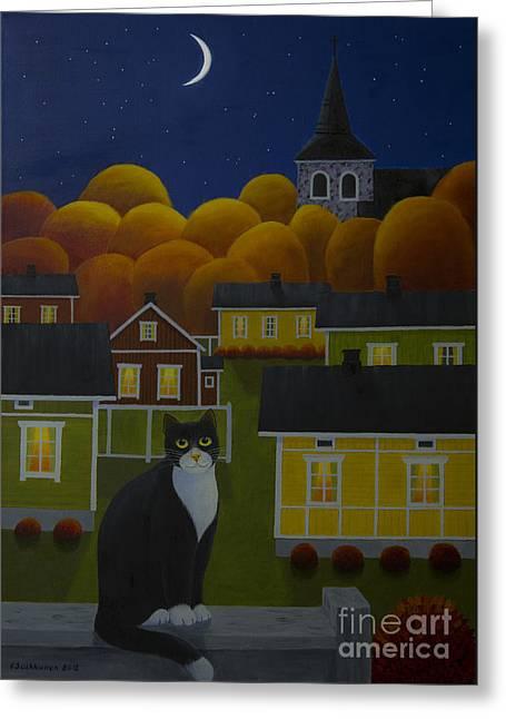 Moonlight Night Greeting Card by Veikko Suikkanen
