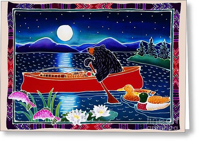 Canoe Greeting Cards - Moonlight on a Red Canoe Greeting Card by Harriet Peck Taylor