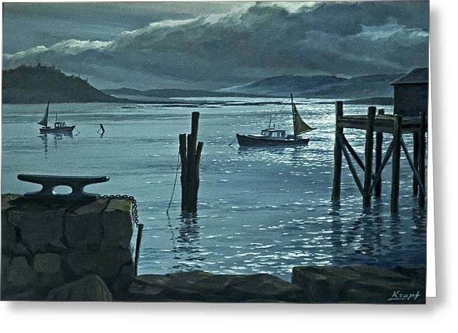 Maine Seascapes Greeting Cards - Moonlight on the Harbor Greeting Card by Paul Krapf
