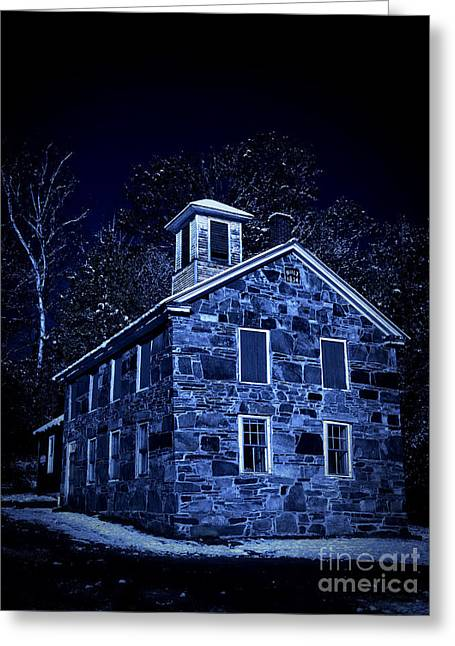 Old Stone Greeting Cards - Moonlight on the Old Stone Building  Greeting Card by Edward Fielding