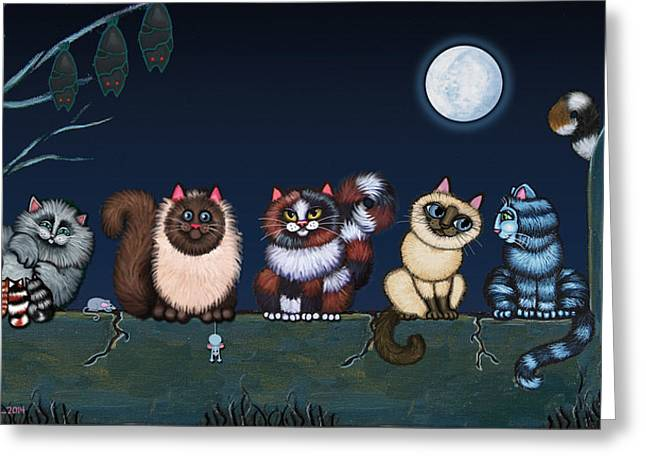 Night Scenes Greeting Cards - Moonlight On The Wall Greeting Card by Victoria De Almeida