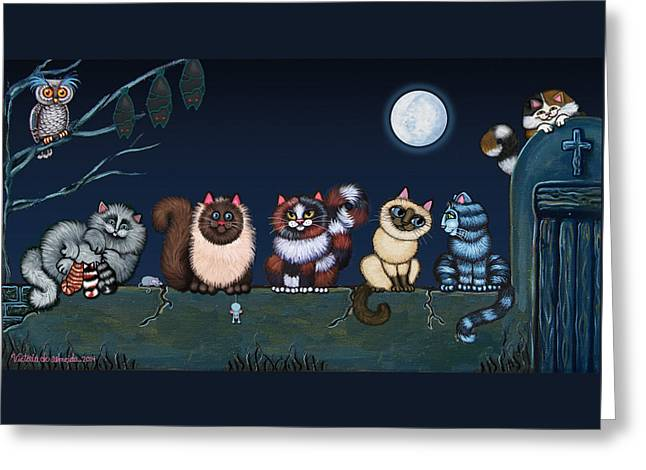 Moonlight On The Wall Greeting Card by Victoria De Almeida