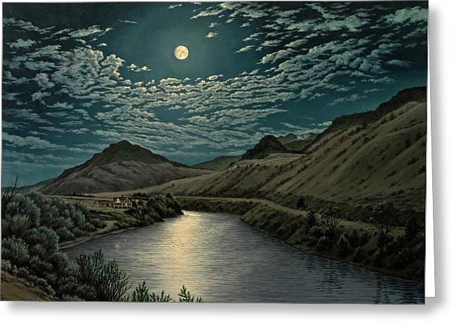 Yellowstone River Greeting Cards - Moonlight on the Yellowstone Greeting Card by Paul Krapf