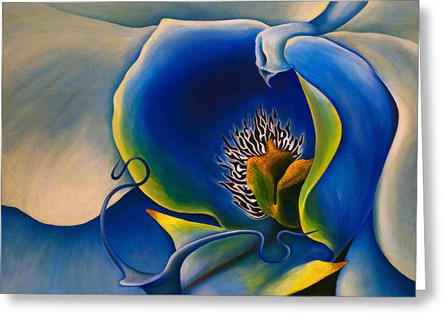 Bucci Paintings Greeting Cards - Moonlight Orchid Greeting Card by Debra Bucci