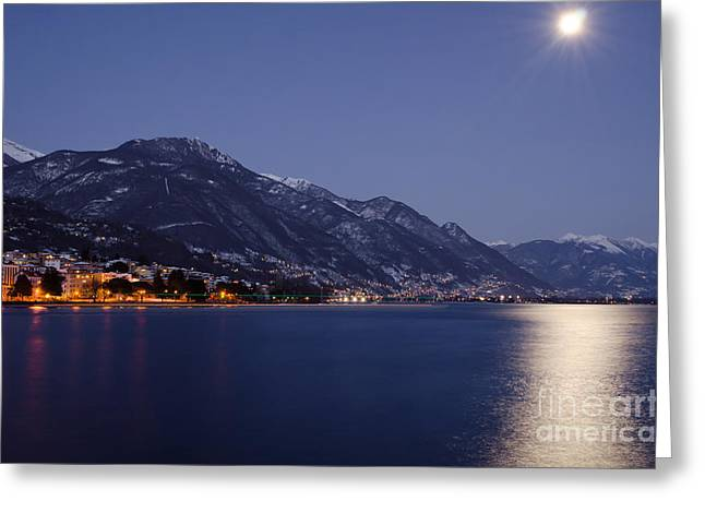 Moonlight Over A Lake Greeting Card by Mats Silvan
