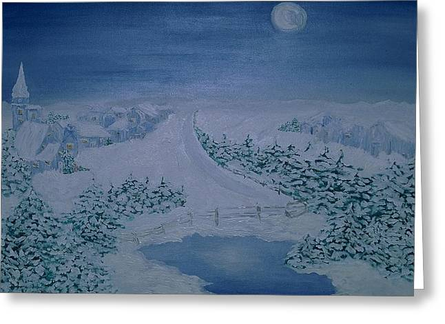 Inge Lewis Greeting Cards - Moonlight over Kitzbuehel Greeting Card by Inge Lewis