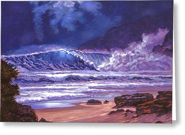 Makena Greeting Cards - Moonlight Over Makena Beach Greeting Card by David Lloyd Glover