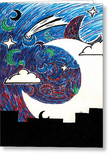 Luna Mixed Media Greeting Cards - Moonlight Over the Desert Greeting Card by Max Antinone