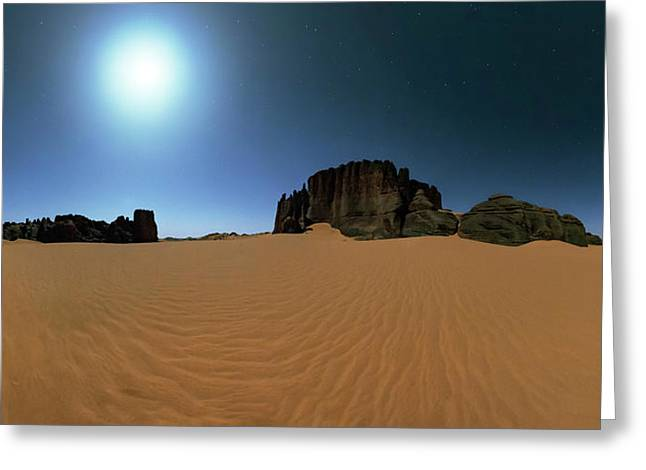Moonlight Over The Sahara Desert Greeting Card by Babak Tafreshi