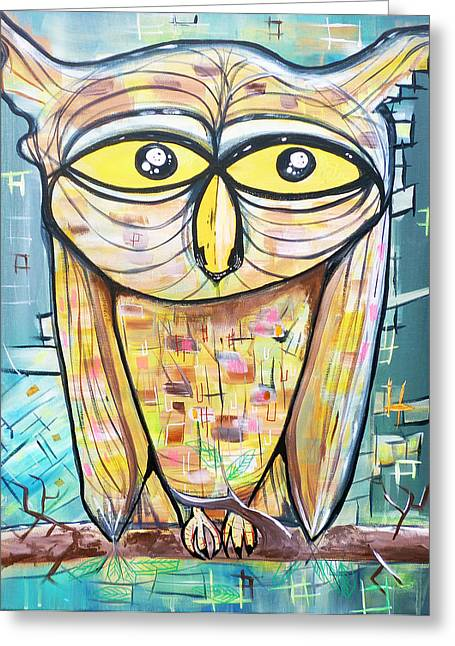 Psychedelic Owl Greeting Cards - Cosmic Owl Greeting Card by Larry Calabrese