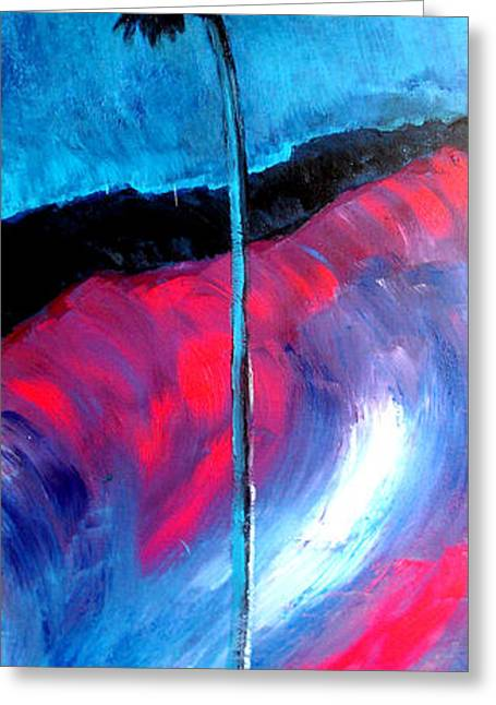 Fushia Mixed Media Greeting Cards - Moonlight Palm Original Art Print by Robert R Greeting Card by Robert R Abstract Paintings