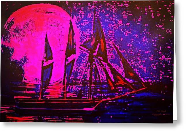 Captain Jack Sparrow Art Greeting Cards - Moonlight passage II Greeting Card by Larry Lamb