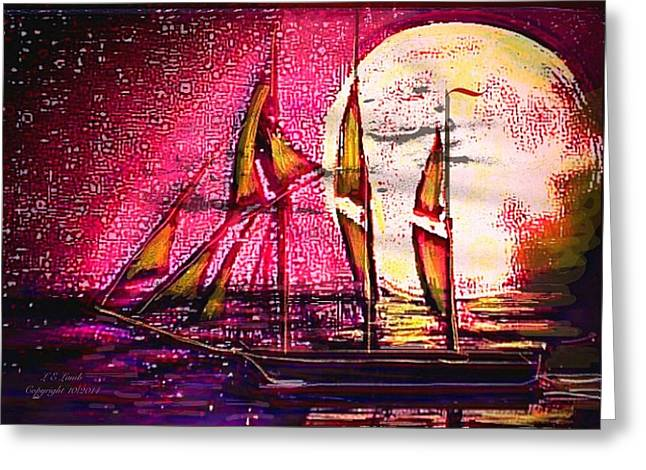Best Sailing Photos Greeting Cards - Moonlight passage Greeting Card by Larry Lamb