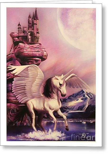 Pegasus Paintings Greeting Cards - Moonlight Pegacorn Greeting Card by Marissa Oosterlee