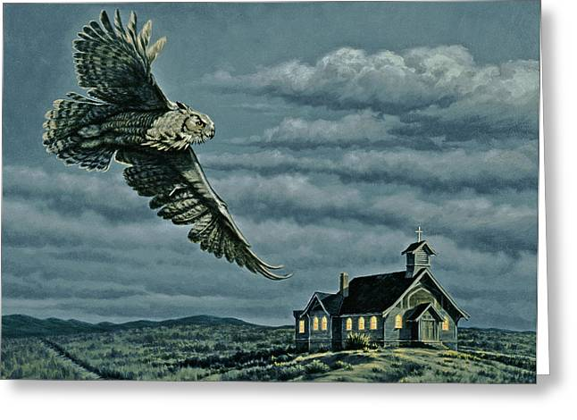 Great-horned Owls Greeting Cards - Moonlight Quest   Greeting Card by Paul Krapf
