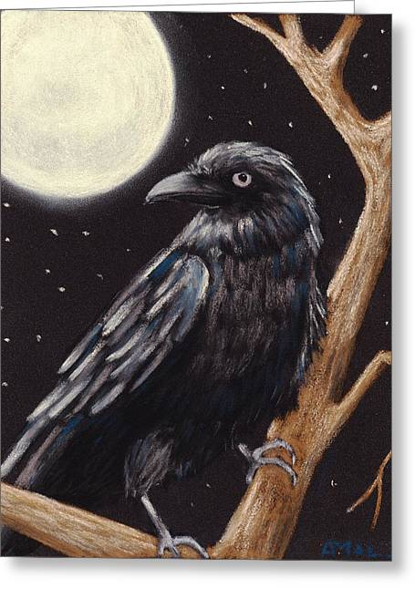 Creature Pastels Greeting Cards - Moonlight Raven Greeting Card by Anastasiya Malakhova