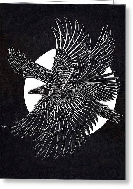 Flying Drawings Greeting Cards - Moonlight Raven Greeting Card by BioWorkZ