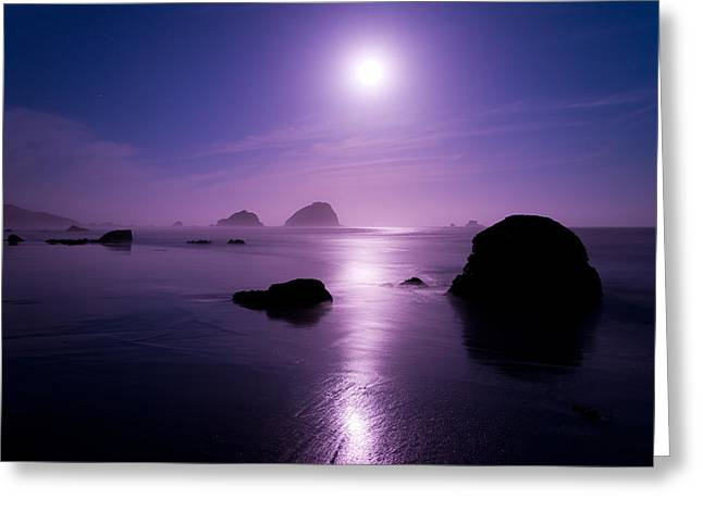 Moon Beach Photographs Greeting Cards - Moonlight Reflection Greeting Card by Chad Dutson
