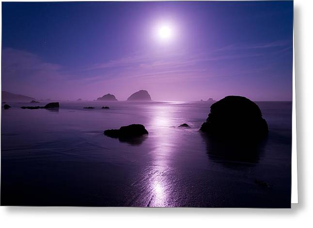 Sea Moon Full Moon Greeting Cards - Moonlight Reflection Greeting Card by Chad Dutson