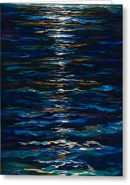 Moon Beach Greeting Cards - Moonlight Reflection Greeting Card by Linda Olsen