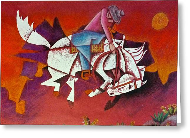 Broncos Mixed Media Greeting Cards - Moonlight Ride Greeting Card by Bern Miller