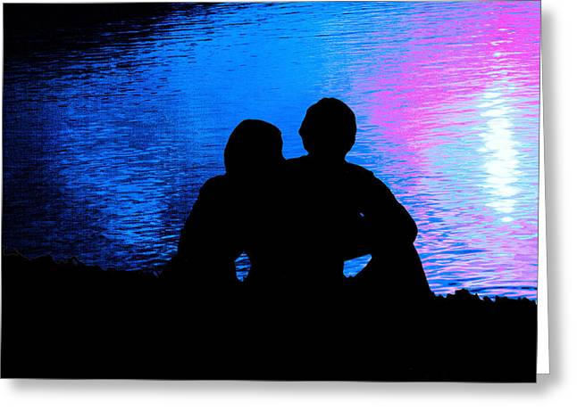 Spooning Greeting Cards - Moonlight Romance Greeting Card by Mike Flynn