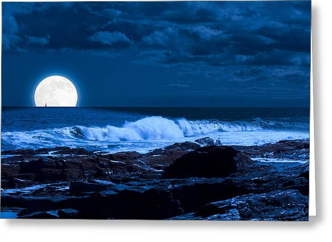 Moonlight Sail Greeting Card by Fred Larson