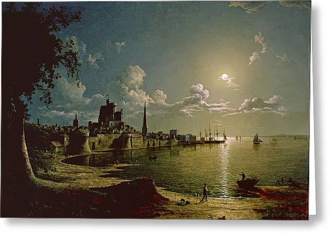 Nocturnal Paintings Greeting Cards - Moonlight Scene, Southampton, 1820 Greeting Card by Sebastian Pether