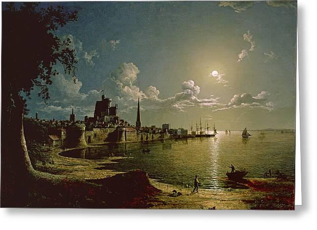 Moonlight Scene, Southampton, 1820 Greeting Card by Sebastian Pether