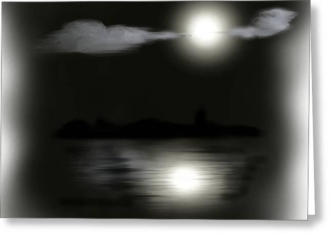 Creepy Digital Art Greeting Cards - Moonlight Greeting Card by Shanna Hare