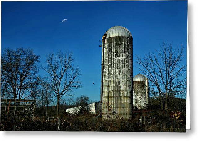 Warwick Greeting Cards - Moonlight Silo Greeting Card by Diana Angstadt