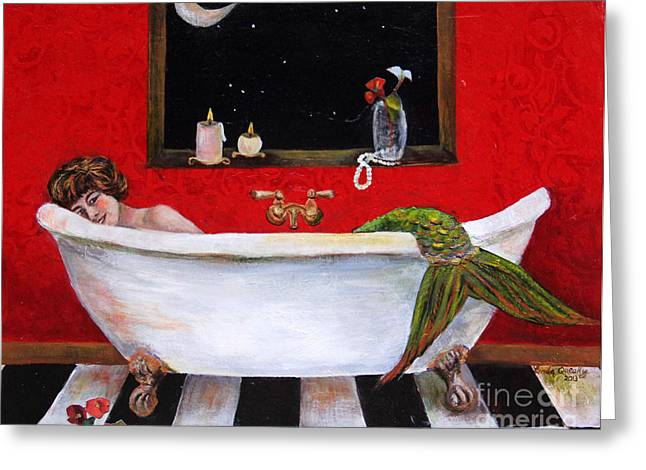 Faucet Paintings Greeting Cards - Moonlight Soak Greeting Card by Linda Queally