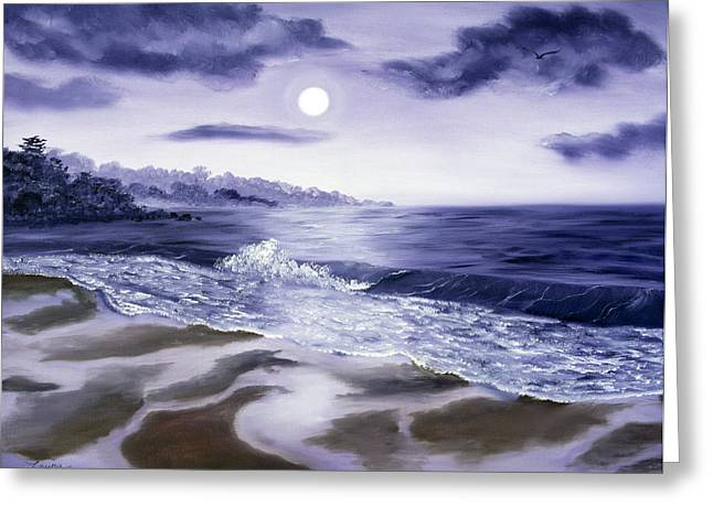 Lavendar Greeting Cards - Moonlight Sonata over Carmel Greeting Card by Laura Iverson