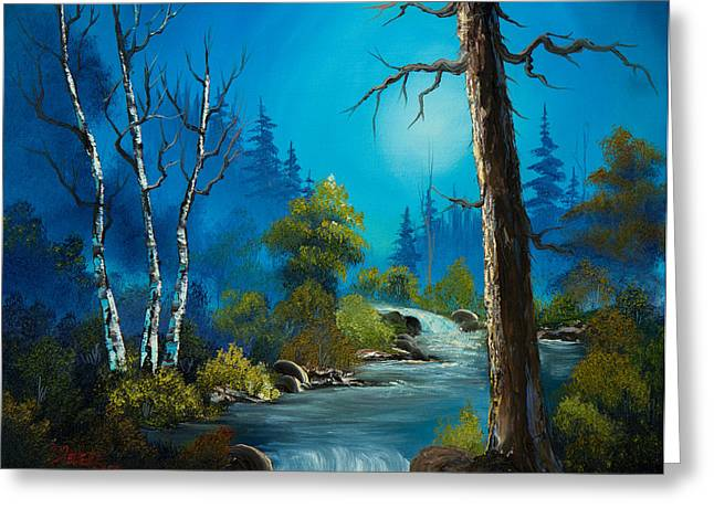 Bob Ross Paintings Greeting Cards - Moonlight Stream Greeting Card by C Steele