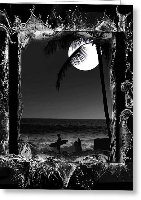 Surfer Art Greeting Cards - Moonlight surf Greeting Card by Athala Carole Bruckner