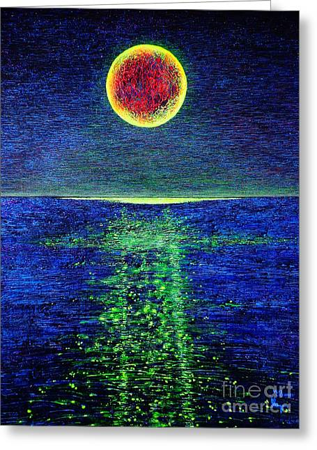 Images Lightning Paintings Greeting Cards - Moonlight Greeting Card by Viktor Lazarev