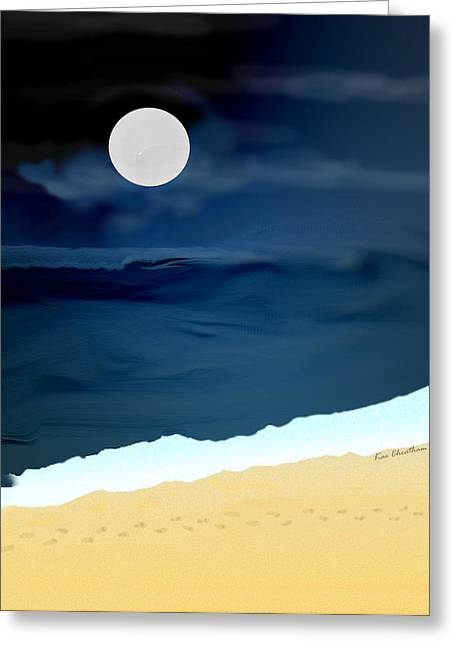 Moon Beach Digital Art Greeting Cards - Moonlight Walk at Low Tide Greeting Card by Kae Cheatham