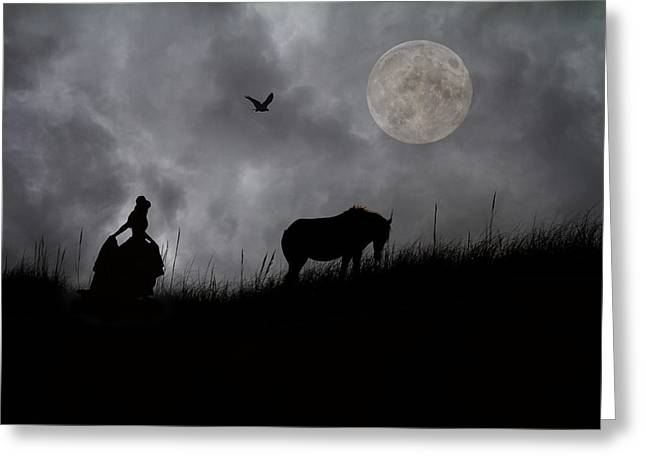 Evening Dress Digital Art Greeting Cards - Moonlight Walk Greeting Card by Betsy A  Cutler