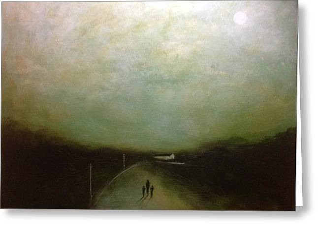 Family Walks Paintings Greeting Cards - Moonlight Walk Greeting Card by Eoin Cassidy
