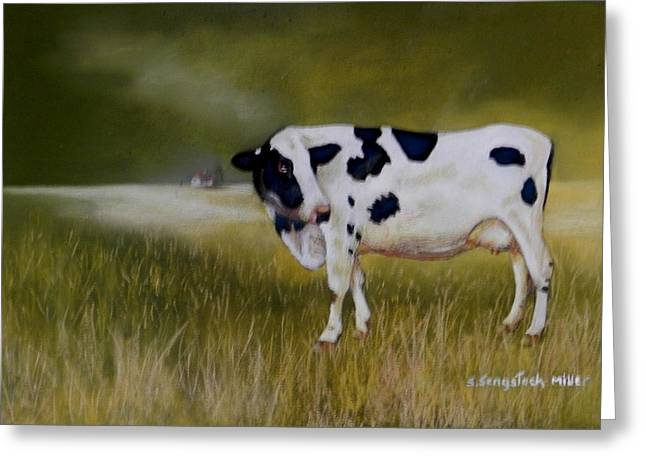 Cattle Cards Pastels Greeting Cards - Moonlight Wander Greeting Card by Sandra Sengstock-Miller