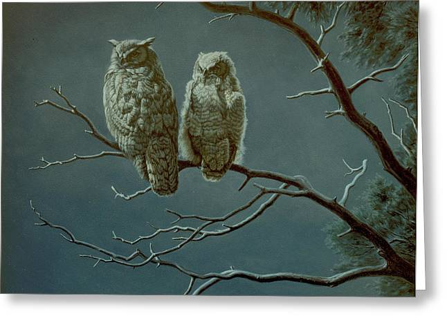 Great Paintings Greeting Cards - Moonlight Watchers Greeting Card by Paul Krapf