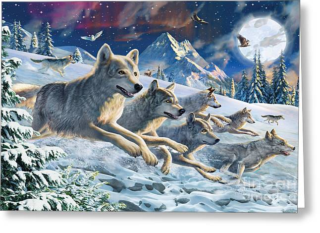 Winter Night Greeting Cards - Moonlight Wolfpack Greeting Card by Adrian Chesterman