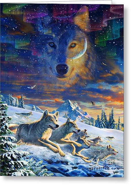 Wolf Head Greeting Cards - Moonlight Wolfpack Variant III Greeting Card by Adrian Chesterman