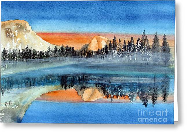 El Capitan Paintings Greeting Cards - Moonlight Yosemite Greeting Card by Rob Beilby