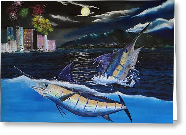 Marlin Azul Greeting Cards - Moonlit Blue Greeting Card by Kevin  Brown