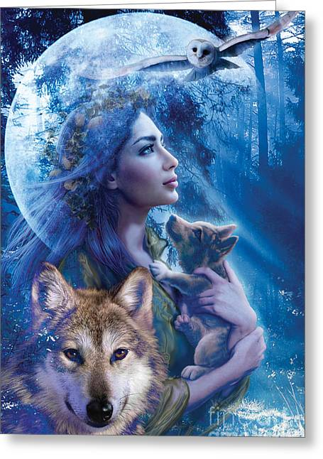 Wolf Moon Greeting Cards - Moonlit Brethren  Greeting Card by Andrew Farley