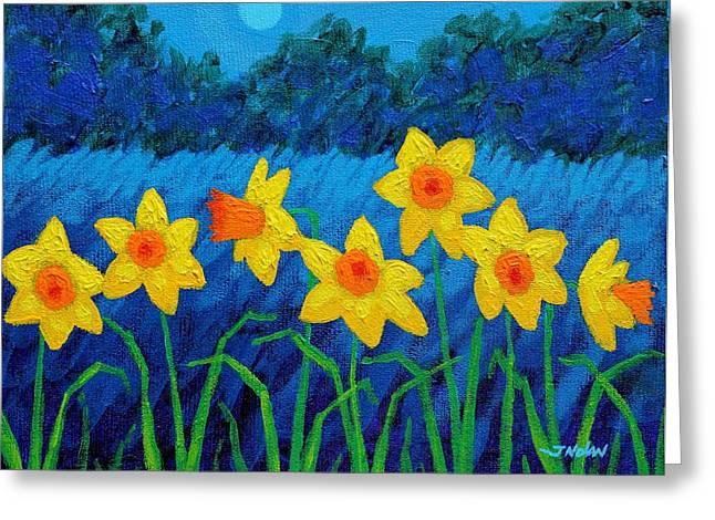 Acrylic Greeting Cards - Moonlit Daffodils  Greeting Card by John  Nolan