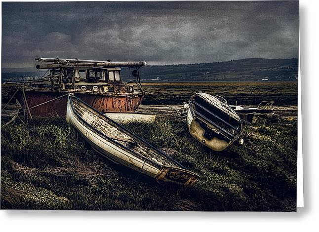 Fishing Boats Greeting Cards - Moonlit Estuary Greeting Card by Brian Tarr
